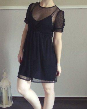 Zara Kleid Mesh schwarz durchsichtig spitze punkte