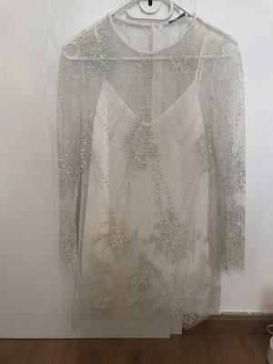 Zara Kleid Mesh transparent Glitzer