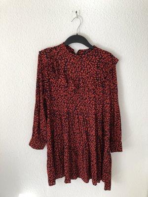 Zara Robe tunique noir-rouge