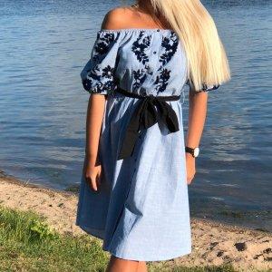 Zara Robe épaules nues bleu-bleu acier coton
