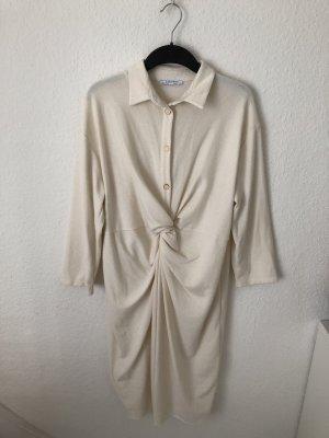 Zara Vestido de manga larga blanco puro-crema