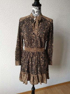 Zara Vestido de manga larga marrón-marrón oscuro