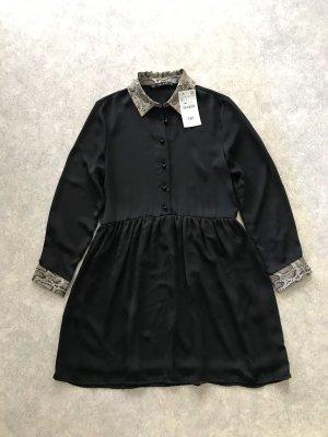 Zara Kleid schößchen Tunika schwarz Schlangenmuster