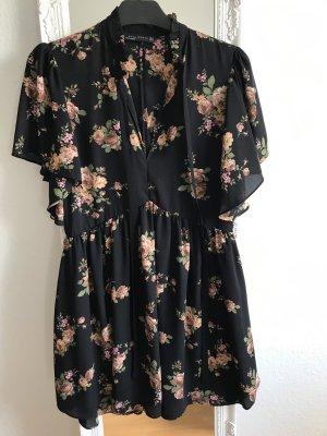 Zara Kleid schwarz Blumen