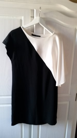 Zara Basic Midi Dress white-black polyester