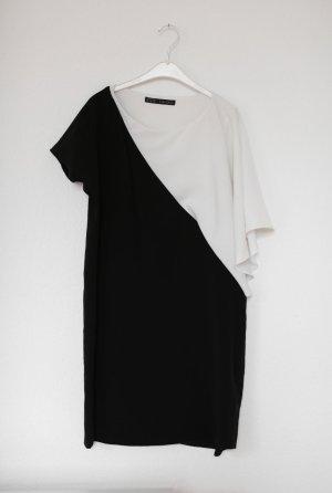 Zara Kleid Schwarz weiß Gr. M Asymmetrisch Minikleid Blogger Sixties