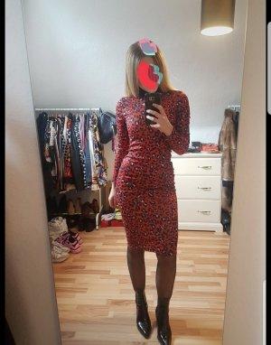 Zara Vestido a media pierna negro-rojo ladrillo