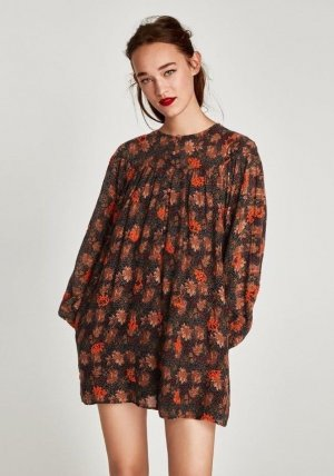 Zara Mini Dress dark orange-brick red