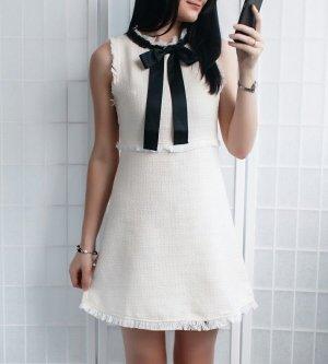 Zara Kleid Tweed Boucle Schwarz Weiß Schleife XS 34