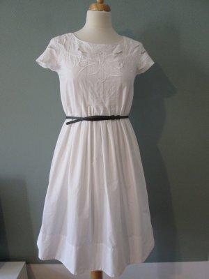 Zara Kleid weiß Baumwolle bestickt Gr.S/36
