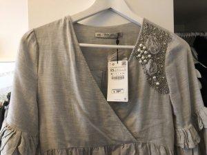 Zara Robe portefeuille gris clair-gris brun