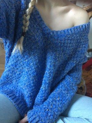 Zara knit blau Meliert Pullover M onesize oversized Strick