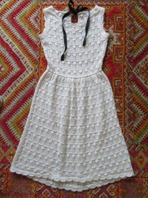 Zara Knit Boho Kleid Creme Weiß Strickkleid Häkelkleid S 36 Bohemian Spitzenkleid Sommerkleid