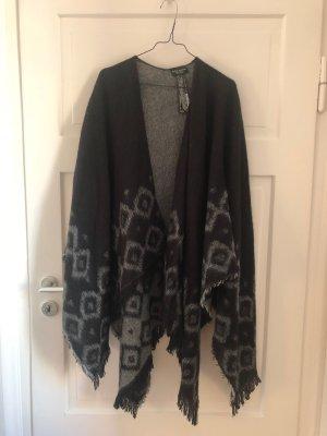 ZARA Knit Cape Poncho Mantel Jacke Cardigan Oberteil weich Schwarz Grau Schal Tuch Decke Strick NEU