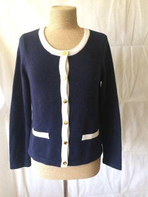 Zara Knitted Cardigan blue-white cotton