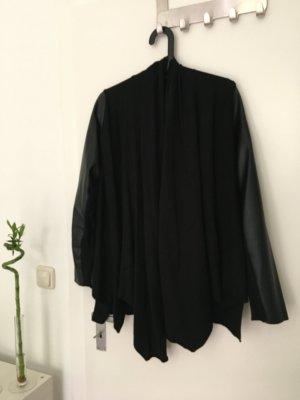 Zara KNIT Cardigan schwarz mit Lederärmeln