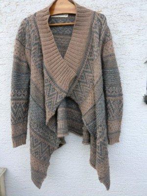 Zara Knit Cardigan Strickjacke Zipfel Waterfall Ethno Bohemian Aztec grau beige braun