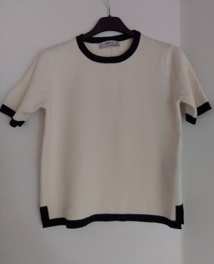 Zara Knit Top de punto blanco-negro