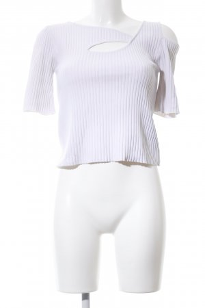 Zara Knit Cut Out Top white striped pattern casual look