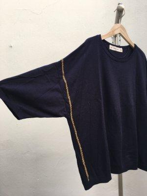 Zara Knit Sweater met korte mouwen donkerblauw-goud