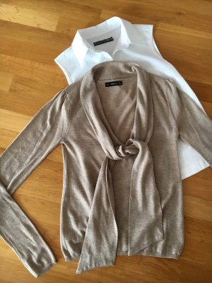 Zara Knit V-Neck Sweater beige mixture fibre
