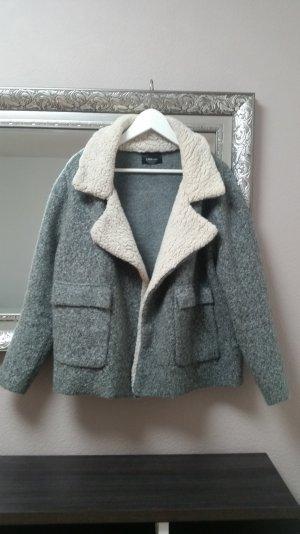 Zara Knit Fake Fur Lammfell Jacke Mantel Blogger Gr. M