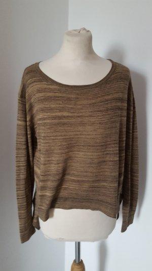 Zara Knit Feinstrick Pullover asymetrisch Größe S braun Damen Pulli