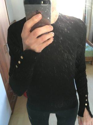 Zara Knit Feinstrickpullover mit Goldknöpfen, 38