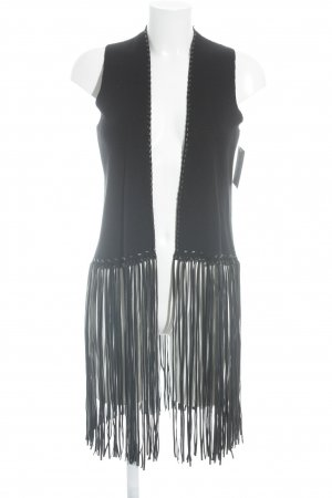 Zara Knit Fringed Vest black biker look