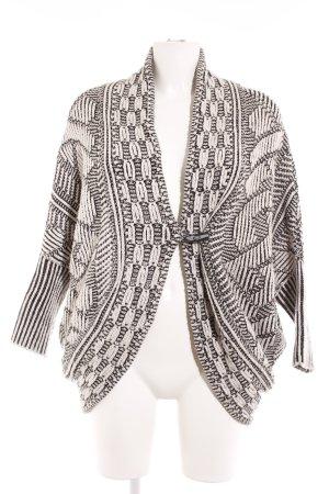 Zara Knit Grobstrickjacke schwarz-wollweiß Webmuster Casual-Look