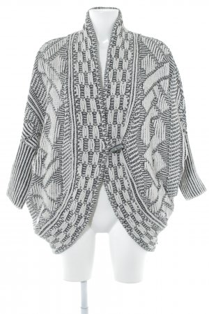 Zara Knit Grof gebreid vest wit-zwart gestippeld pluizig