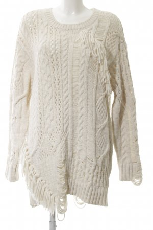Zara Knit Grobstrickpullover creme Allover-Druck Casual-Look
