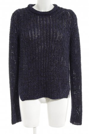 Zara Knit Coarse Knitted Sweater blue cable stitch casual look