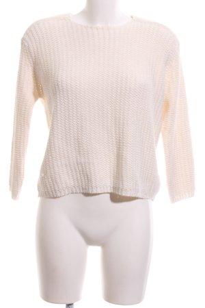 Zara Knit Coarse Knitted Sweater cream casual look