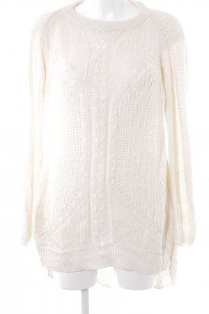 Zara Knit Grobstrickpullover creme Zopfmuster Casual-Look