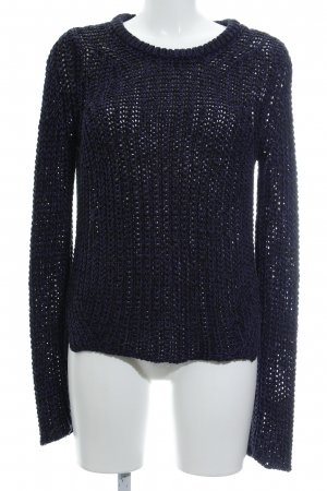 Zara Knit Coarse Knitted Sweater dark blue casual look