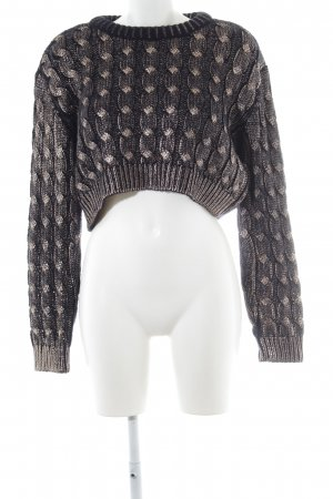 Zara Knit Coarse Knitted Sweater dark blue-gold-colored cable stitch casual look