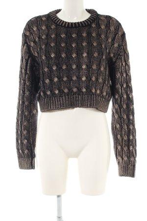 Zara Knit Grobstrickpullover schwarz-braun Zopfmuster Casual-Look