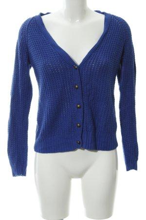 Zara Knit Cárdigan de ganchillo azul look casual