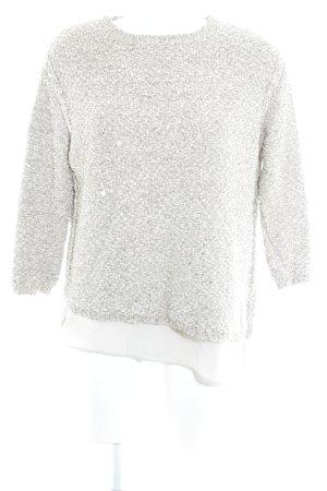 Zara Knit Häkelpullover beige-hellbeige Webmuster Elegant