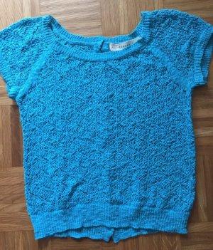 zara knit häkelshirt türkis blau Gr. S hinten zum Knöpfen