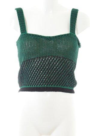 Zara Knit Gehaakte top groen-zwart casual uitstraling