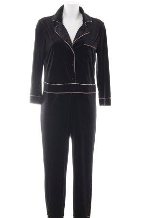 Zara Knit Jumpsuit schwarz-nude Samt-Optik