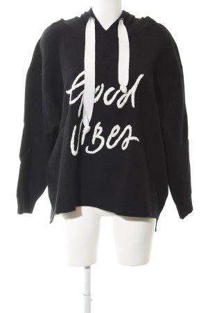 Zara Knit Capuchon sweater zwart-wit geborduurde letters casual uitstraling
