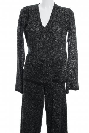 Zara Knit Kostüm schwarz-goldfarben meliert extravaganter Stil