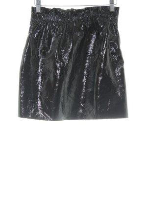 Zara Knit Falda de cuero de imitación negro look casual