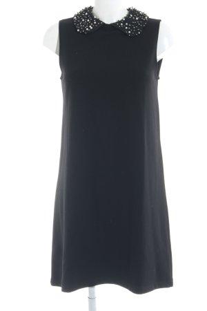 Zara Knit Kurzarmkleid schwarz Elegant
