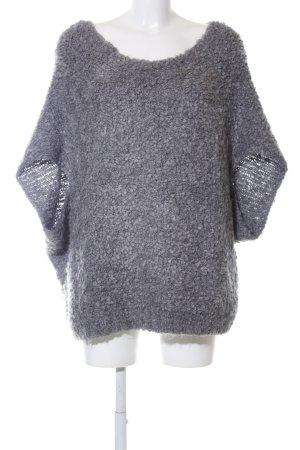Zara Knit Short Sleeve Sweater light grey business style