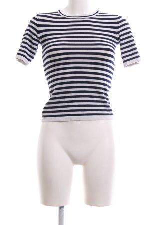 Zara Knit Kurzarmpullover weiß-schwarz Streifenmuster Casual-Look