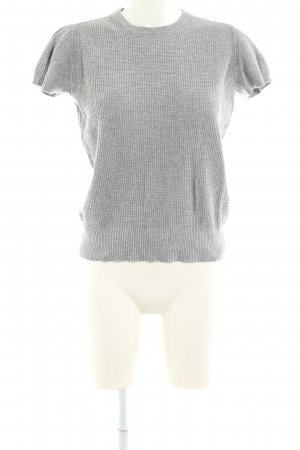 Zara Knit Short Sleeve Sweater light grey flecked casual look